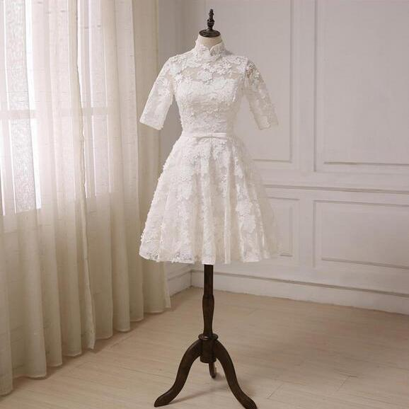 Simple Ivory Real Photos A-Line High Collar Lace Illusion Half Sleeve With Satin Sashes Short Wedding Dress Knee-Length Bridal Gowns