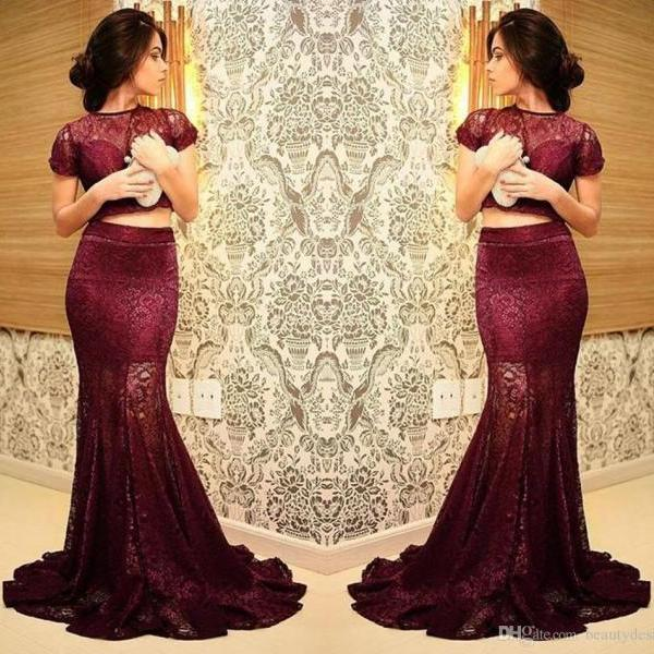Elegant Burgundy Two-pieces 2016 Prom Dresses Mermaid Formal Crew Newck Full Lace Mother Evening Gowns for Women Cap Sleeves