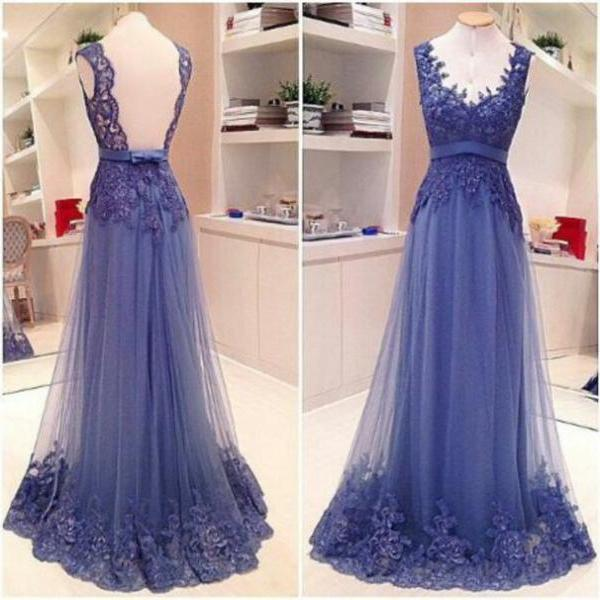 2016 Lavender Lace evening dress natural v-neck backless sleeveless floor-length vestido de festa robe de soiree sweep A-line