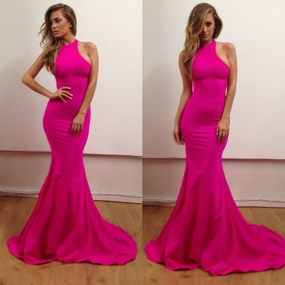 2016 Fuchsia Mermaid Lycra Prom Dresses Sleeveless Formal Evening Party Gowns Vestidos