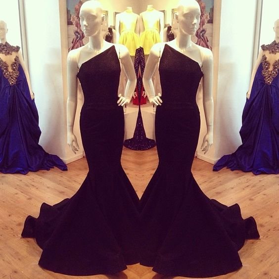 2016 One Shoulder Black Mermaid Lycra Prom Dresses Sleeveless Formal Evening Party Gowns Vestidos