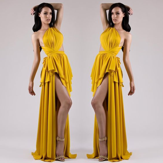 2016 Yellow A Line Chiffon One Shoulder Prom Dresses Hilo Pleat Sleeveless Formal Evening Party Gowns Vestidos