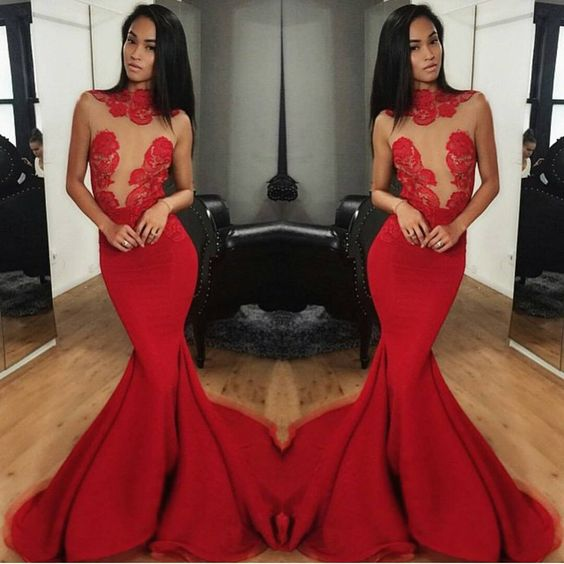 2016 Red Mermaid Satin Prom DressesLace Accents Sleeveless Formal Evening Party Gowns Vestidos