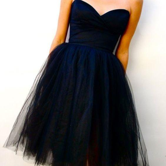 Black A Line Tulle Prom Dress Sleevless Mini Short Homecoming Party Dress Gowns
