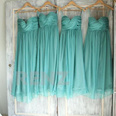 Mint A Line Chiffon Bridesmaid Dresses Sweetheart Ruched Prom Dress Evening Party Dresses