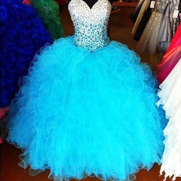 Gorgeous Blue Quinceanera Dresses ball gown beaded crystal sweetheart lace up ball gown pageant gown organza sweet 16 dress