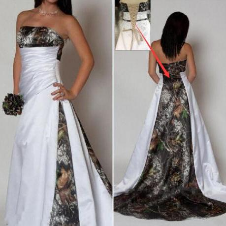 2016 Sexy Camo Wedding Dresses Camouflage Lace Up Bridal Gowns Custom Made