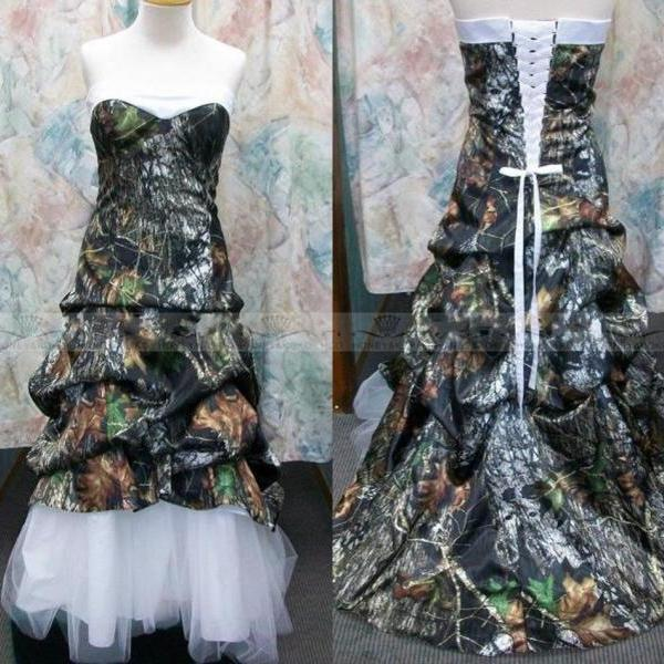Custom Made Camo Ball Gown Wedding Dresses Camouflage Appliques Bridal Gowns