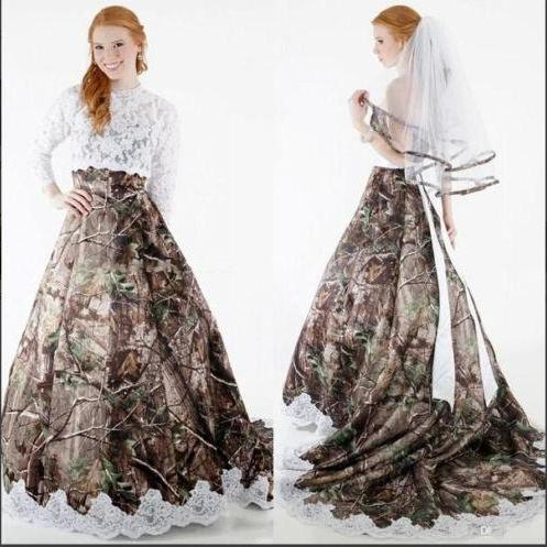 2016 Lace Camo Ball Gown Wedding Dresses Camouflage Appliques Bridal Gowns