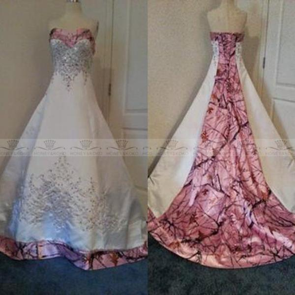 Custom Made Plus Size Colored Pink Camo Wedding Dresses 2015 Corset Bridal Gowns