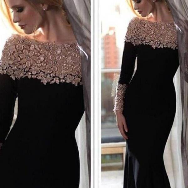 Black Long Sleeves Prom Dress with Lace Decoration Mermaid vestido formatura 2015 Fashionable Dress High Quality