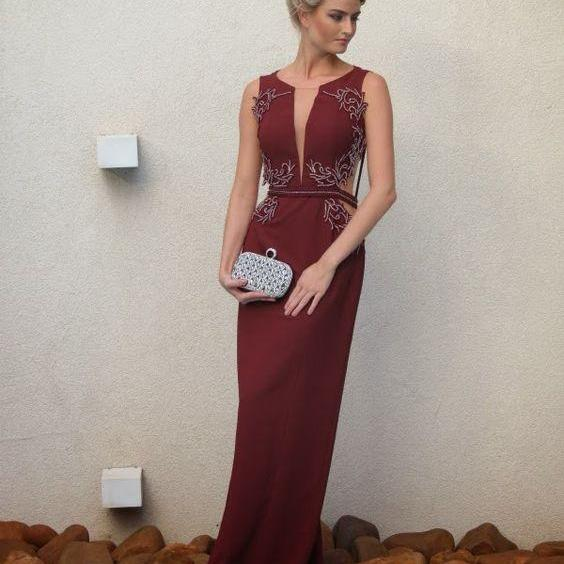 Burgundy Evening Dresses, A Line ChiffonProm Dress, Sexy Beading Crsytals Party Dress, Long Formal Dress