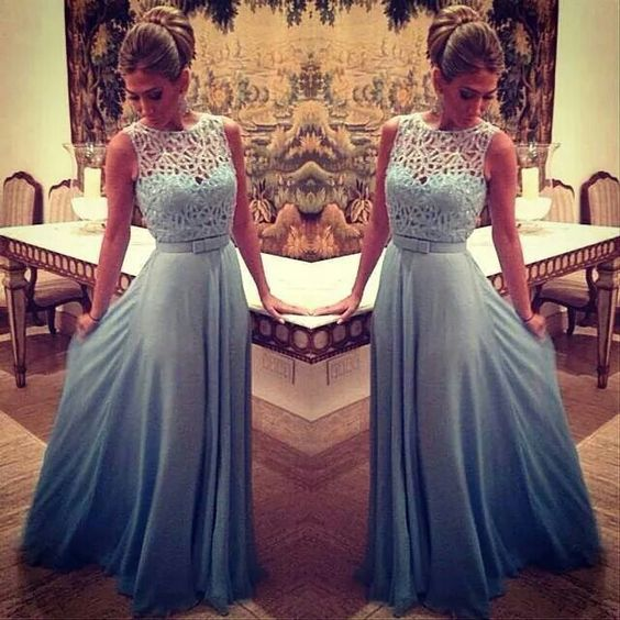 Blue Evening Dresses, A Line ChiffonProm Dress, Sexy Lace Party Dress, Long Formal Dress