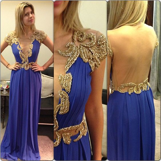 Royal Blue Evening Dresses, A Line ChiffonProm Dress, Sexy Beading Crystals Beading Party Dress, Long Formal Dress