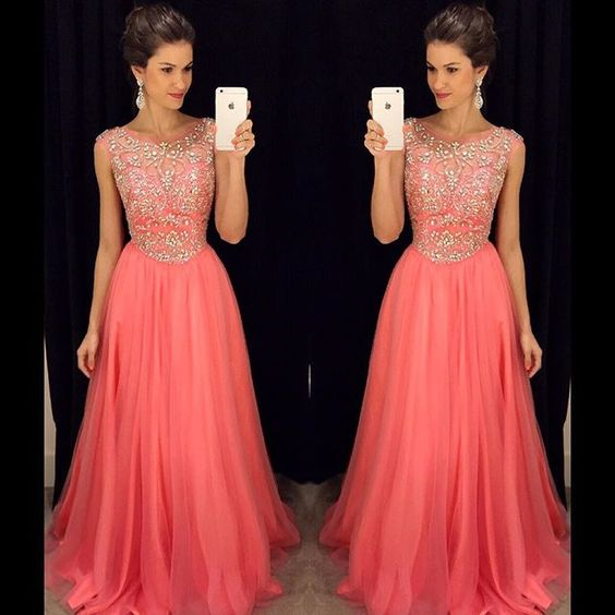 Coral Evening Dresses, A Line ChiffonProm Dress, Sexy Beading Crystals Beading Party Dress, Long Formal Dress