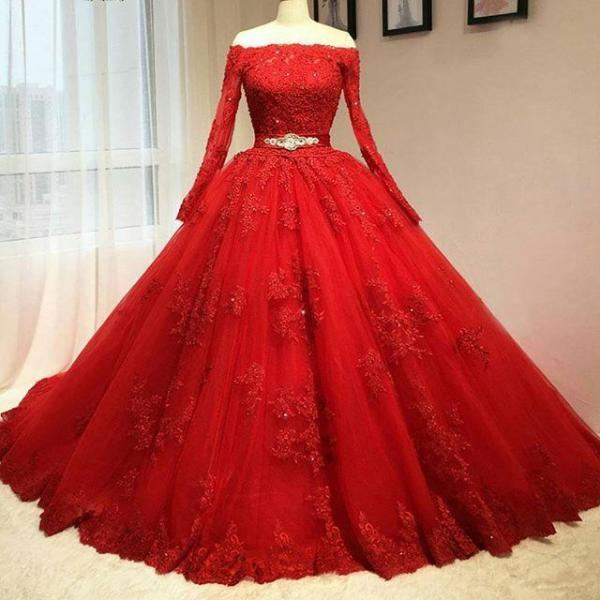 2017 Delicate Red Ball Gown Quinceanera Dresses High Neck Long Sleeves Tulle Key Hole Back Corset Pink Sweet 16 Dresses Prom Dresses