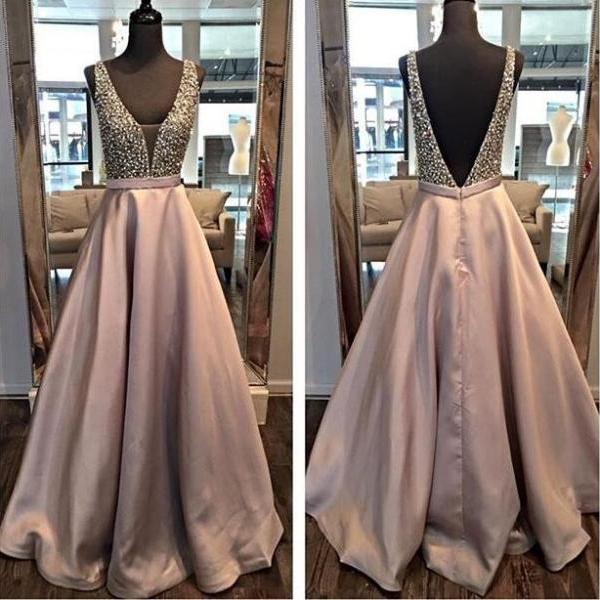 Backless A line Evening Prom Dresses, 2017 Long Party Prom Dress, Custom Long Prom Dress, Cheap Party Prom Dress, Formal Prom Dress