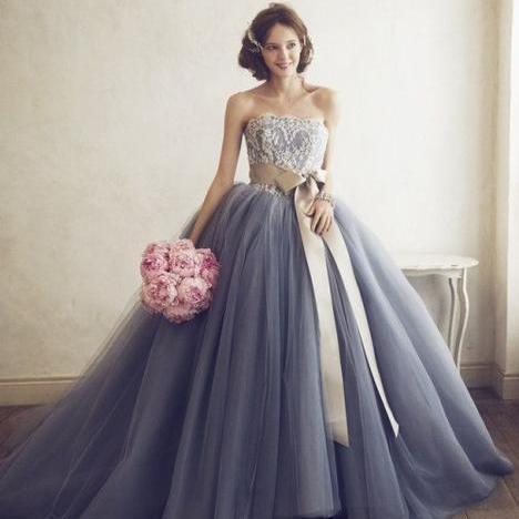 Grey Tulle A line Evening Prom Dresses, Ball Gown Party Prom Dress, Custom Long Prom Dresses, Cheap Formal Prom Dresses