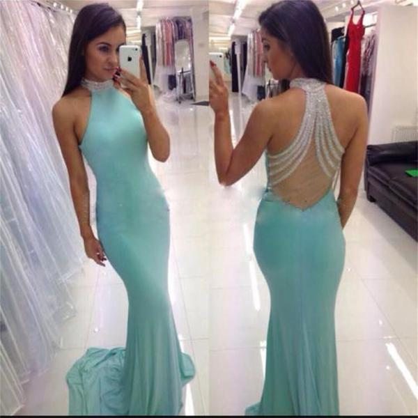 High Neck Tiffany Blue Sexy Open Back Mermaid Long Party Prom Dress, 2017 Cheap Prom Dresses