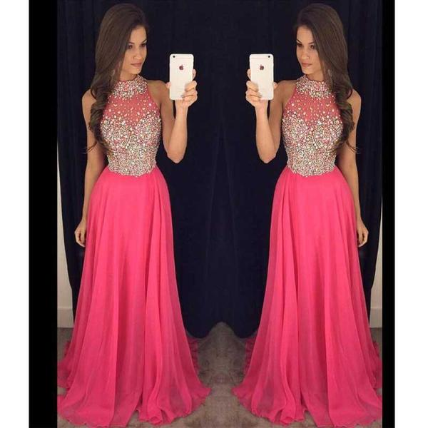 Hot Pink Halter Evening Prom Dresses, 2017 Long Beaded Prom Dress, Custom Long Prom Dress, Cheap Party Prom Dress, Formal Prom Dress