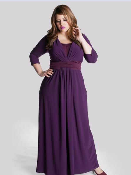 Modest Plus Size Mother Of The Bride Dresses For Fat Women 2018 Cheap  Purple Chiffon Formal Evening Gowns With 3/4 Long Sleeves