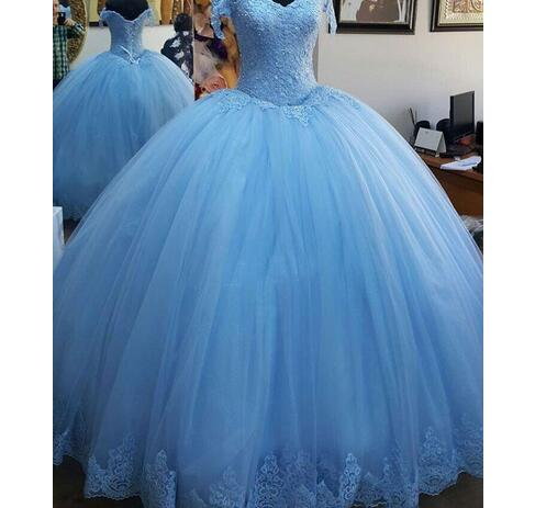 99c9b6b8bbb Light Blue Ball Gown Princess Quinceanera Dresses Cap Sleeve Appliques  Beaded Tulle Lace up Back Prom Dresses Sweet 16 Birthday Dresses