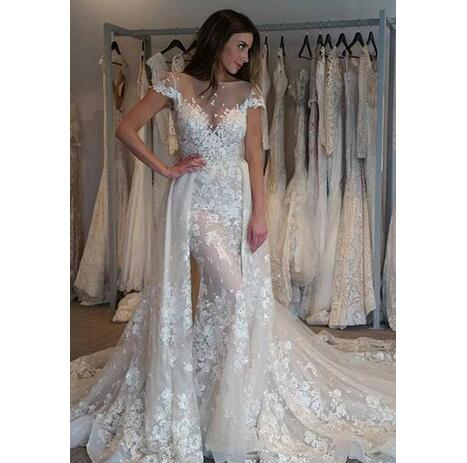 9e727bd40fd18 Delicate New Short Sleeve Lace Sheath Wedding Dresses with Detachable Train  Sexy Bridal Gowns 2018 Applique Custom Made See Through Romantic